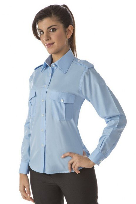camicia donna  con due taschini con pattina e spalline con bottoni
